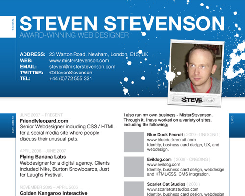 10 web designers create a resume