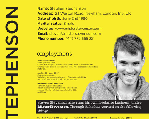 note this is an english website - Web Designer Resume