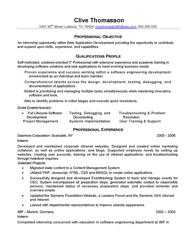Resume format content developer