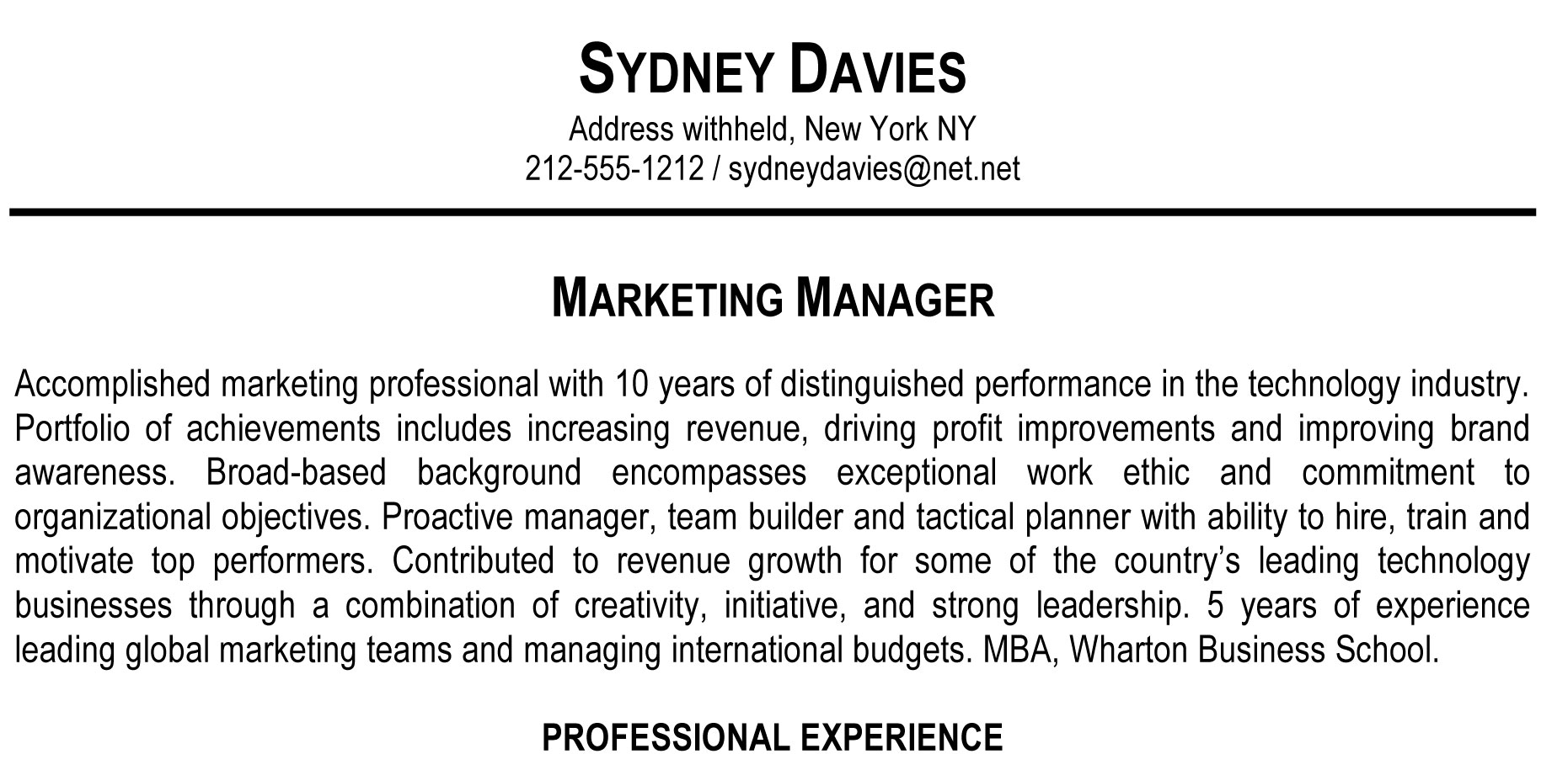 [click ...  Sample Resume Professional Summary