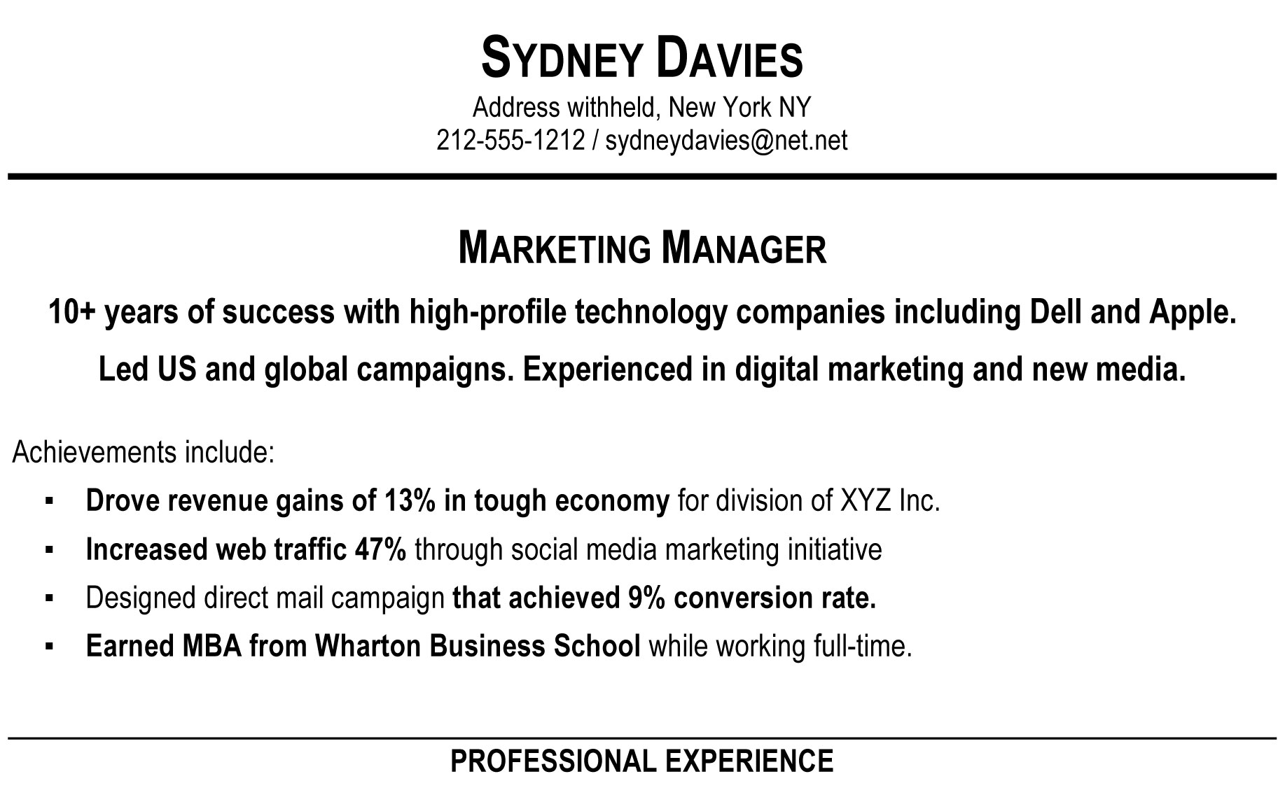 Better ...  Summary Example For Resume