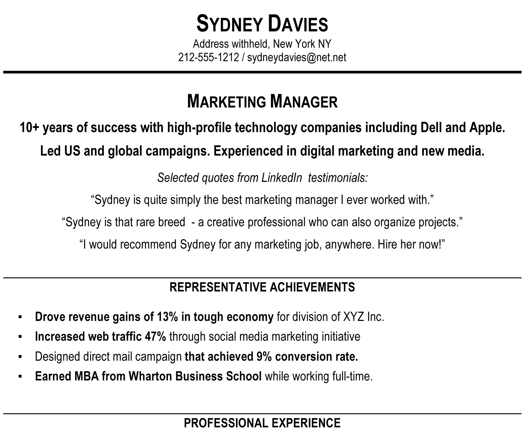 Blue Sky Resumes  Sample Resume Professional Summary