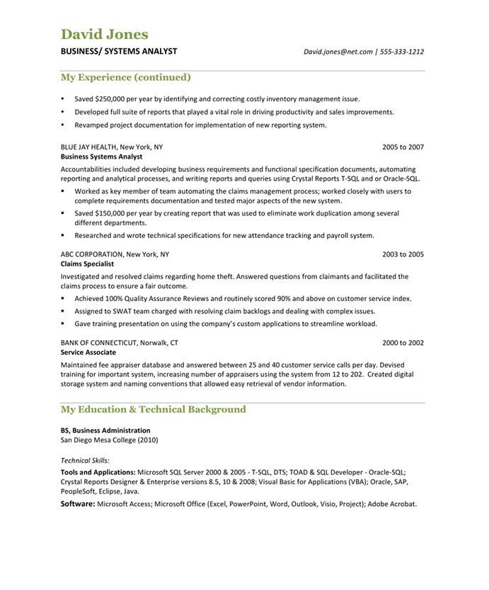 Business Analyst | Free Resume Samples | Blue Sky Resumes