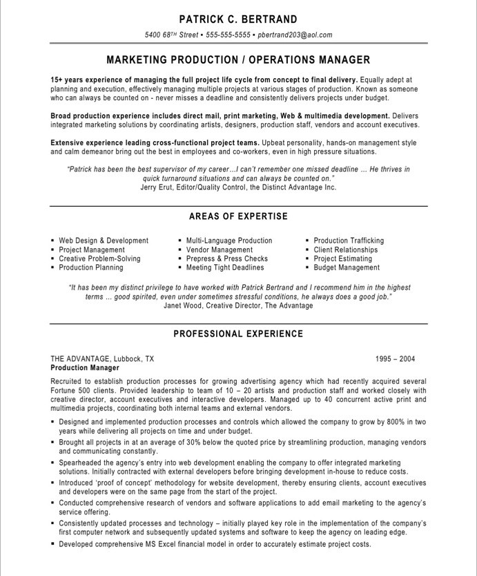 Resume sample: production supervisor/manager.