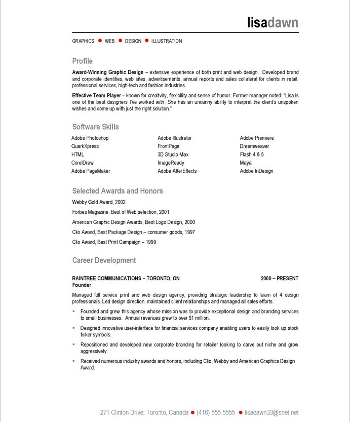 resume example awards
