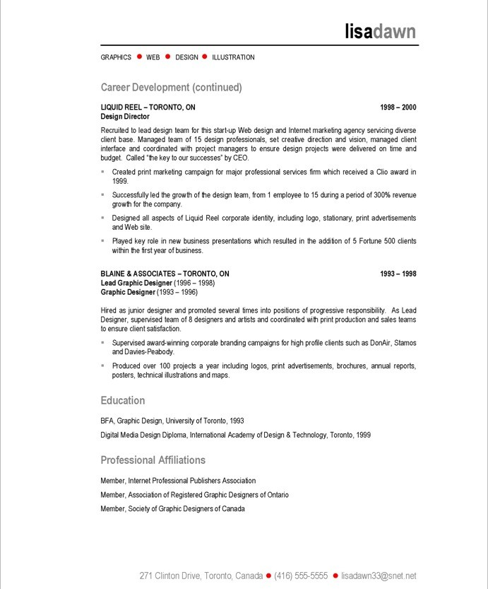 Web Designer Resume Sample. Chronological Web Designer Resume