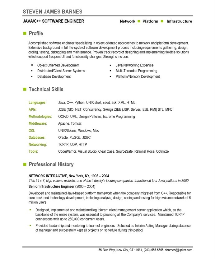 old version old version old version - Sample Software Engineer Resume