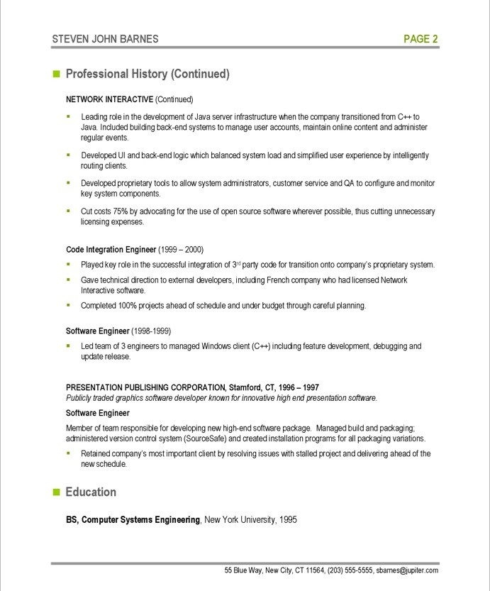 software developer resume