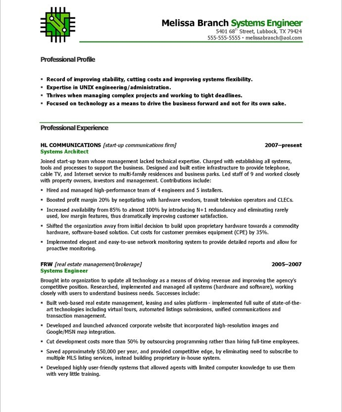 systems engineer sample resumes