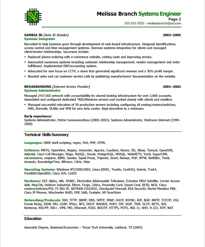 system engineering resume