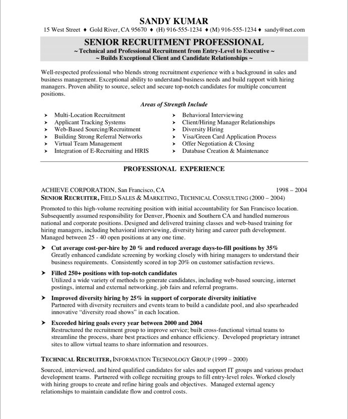 Recruiter Sample Resume Trisaorddiner