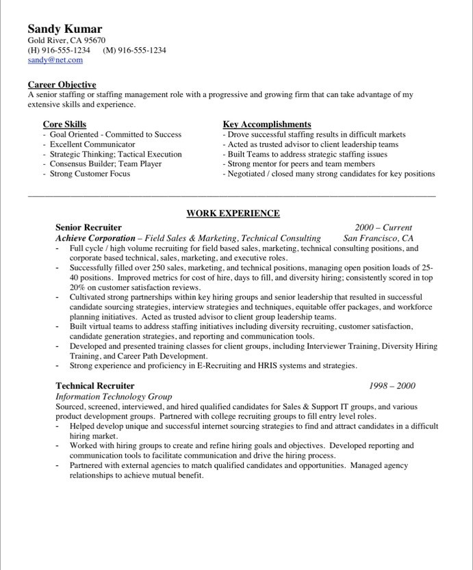Resume Example Of Hr Recruiter Resume hrrecruiter free resume samples blue sky resumes old version version