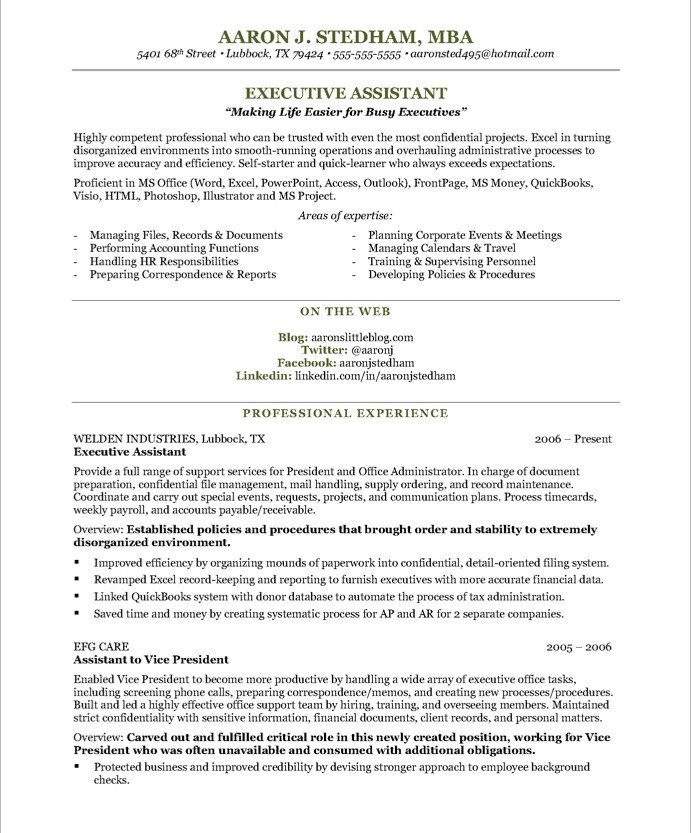 Sample Resume For Executive Secretary  Template