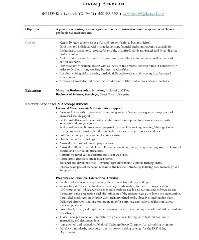 old version - Sample Resume For Executive Assistant