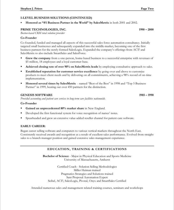 executive classic format resume