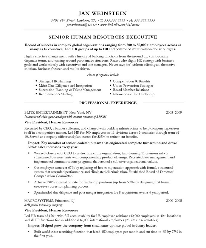 Sample Hr Executive Resume: Resume Format: Resume Format For Hr Executive