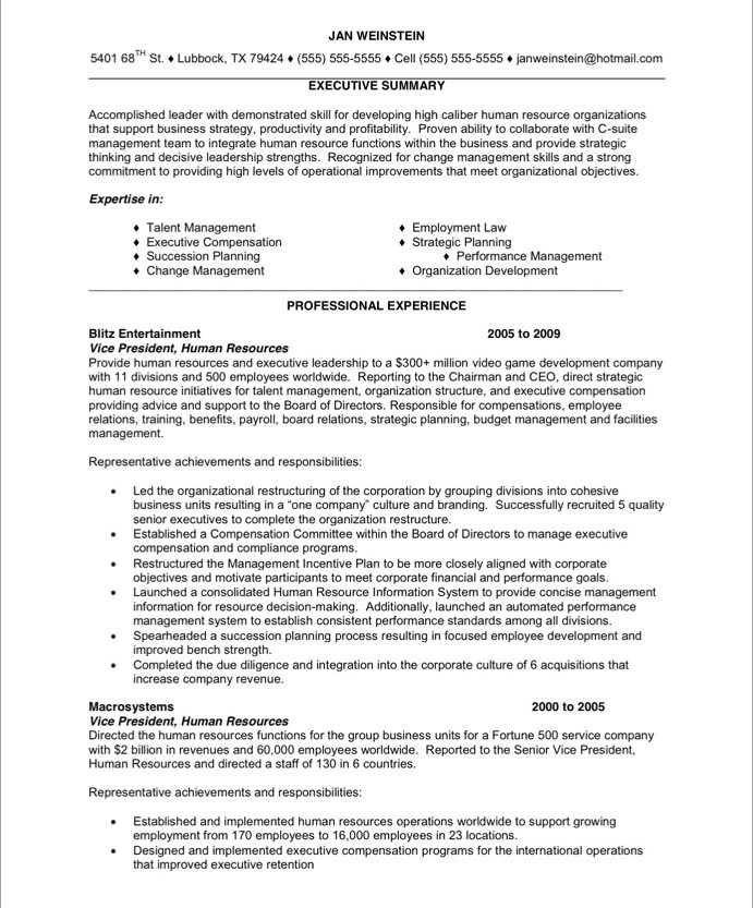 executive summary resume template example assistant sample hr free samples blue sky resumes