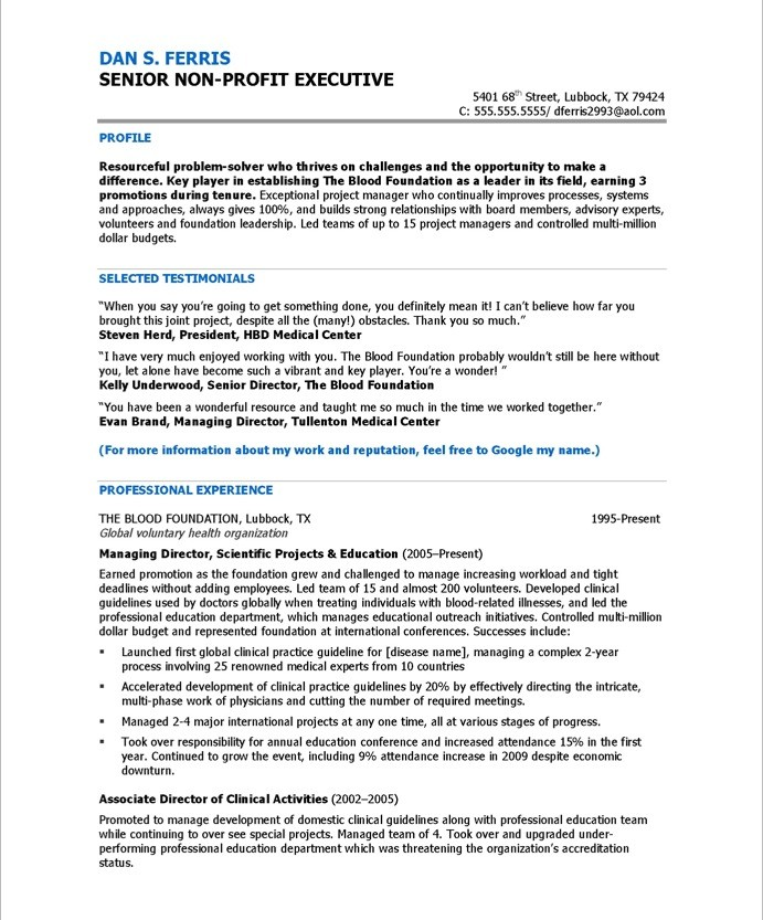 Program Director  Free Resume Samples  Blue Sky Resumes