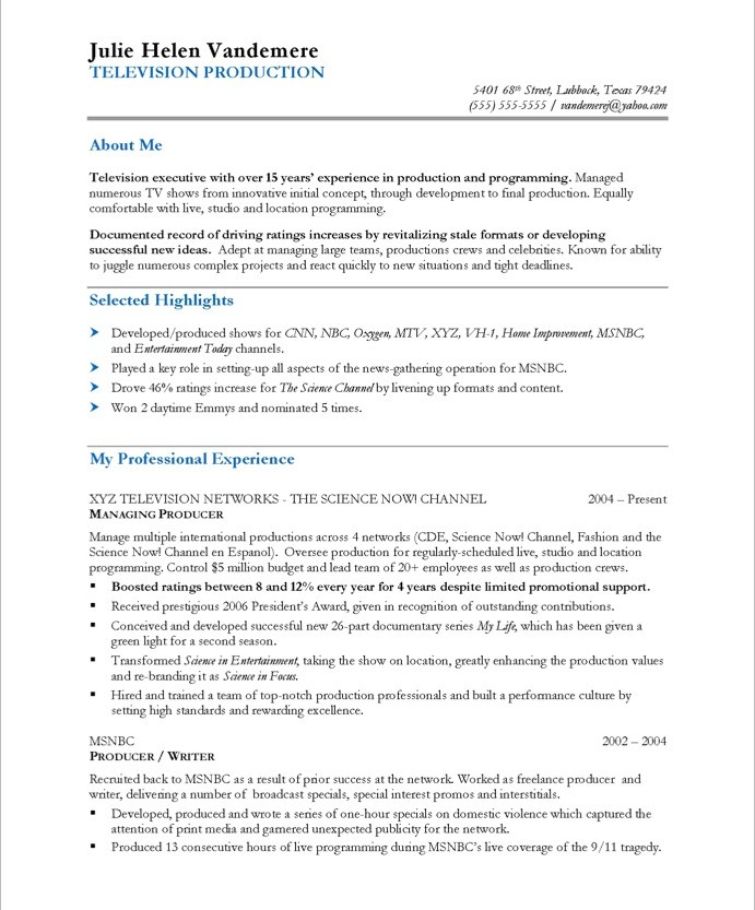Tv Producer | Free Resume Samples | Blue Sky Resumes