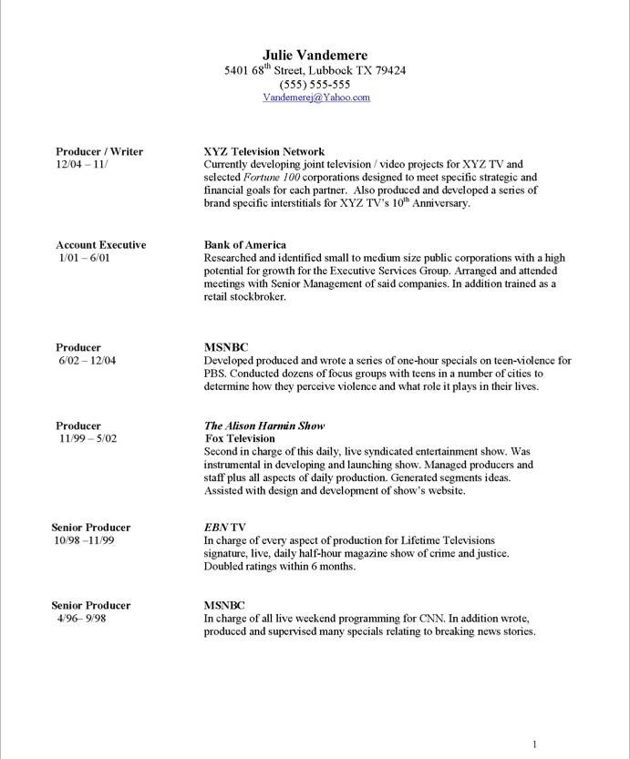 tv producer free resume sles blue sky resumes