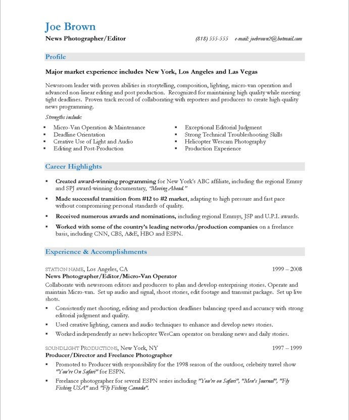 Photographer Resume