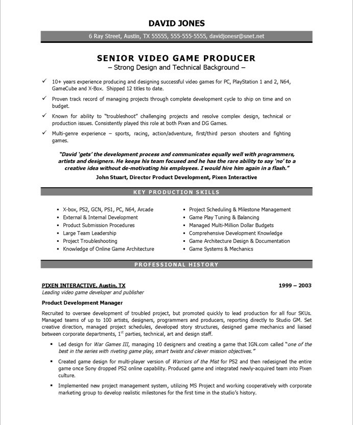 Old Version Old Version Old Version  Production Resume Examples