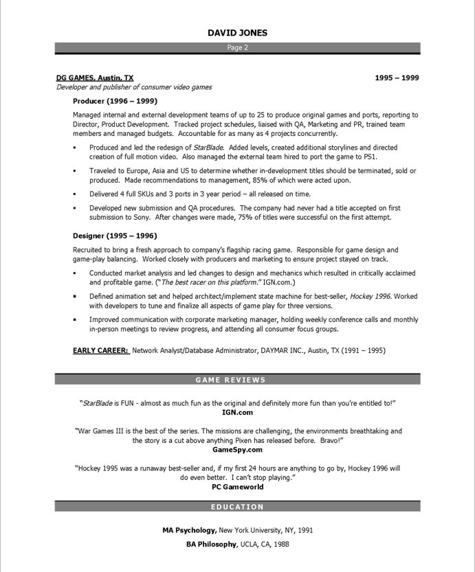 Video Game Producer Free Resume Samples Blue Sky Resumes