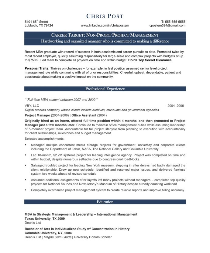 examples of project manager resumes