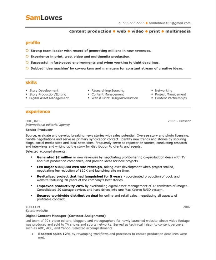 producer resume - Production Resume Sample