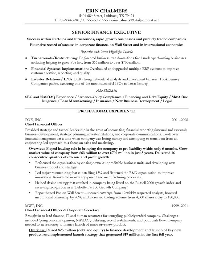 Finance Executive | Free Resume Samples | Blue Sky Resumes