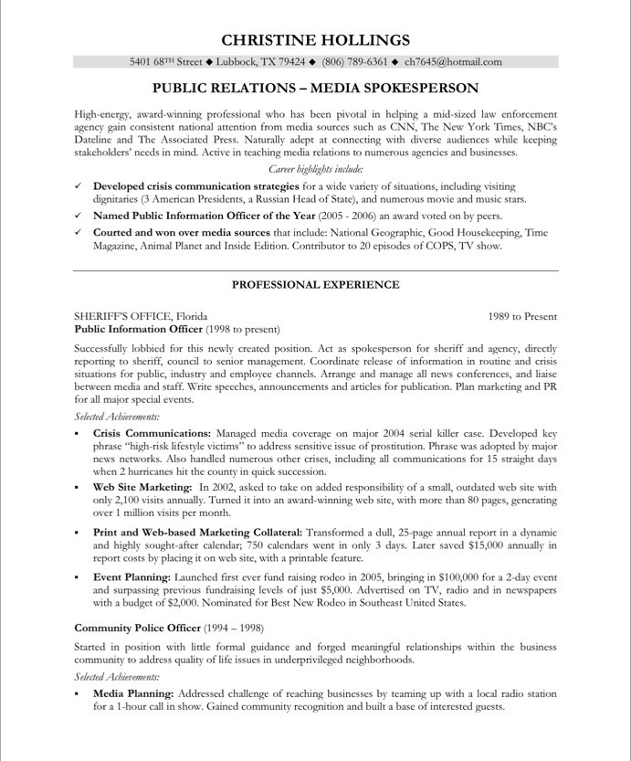 old version old version - Sample Public Relations Manager Resume