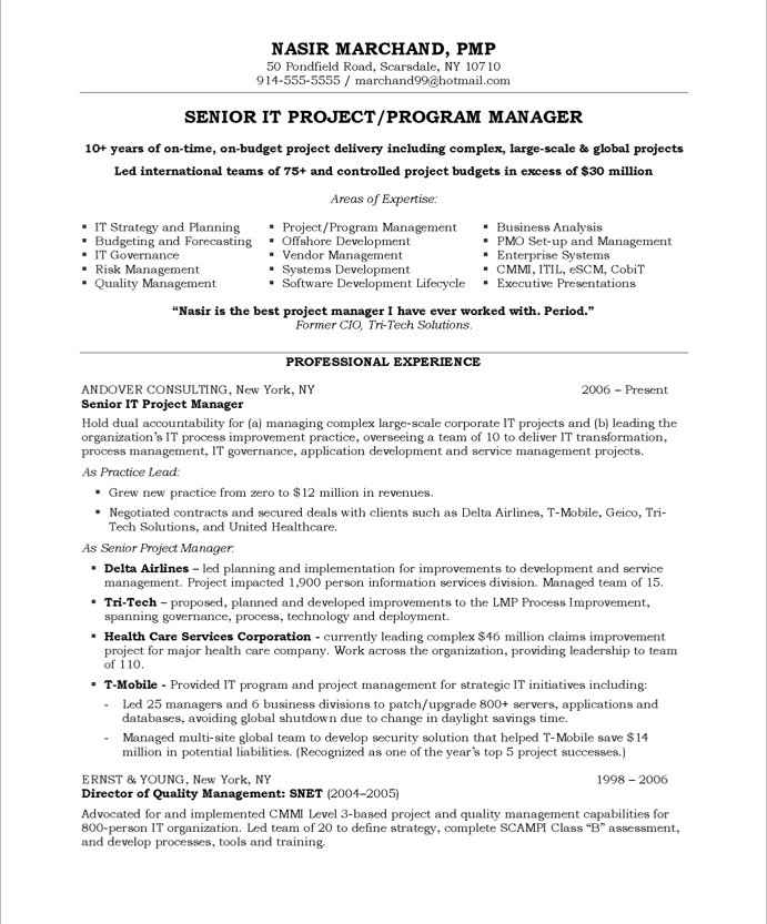 Resume For Project Manager Free Job Cv Example