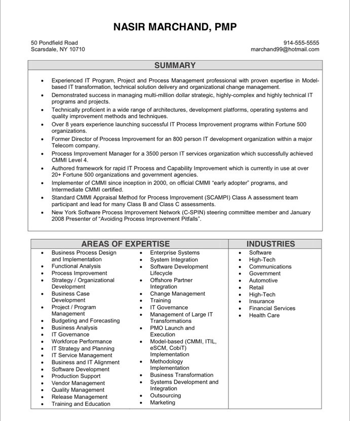 Old Version ...  Sample Project Management Resume