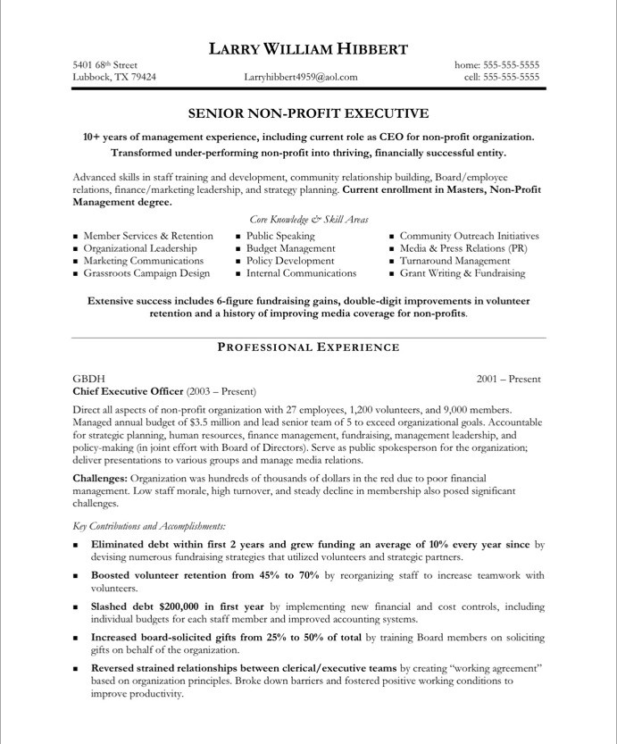 Non Profit Executive Resume Samples Simple Instruction Guide Books