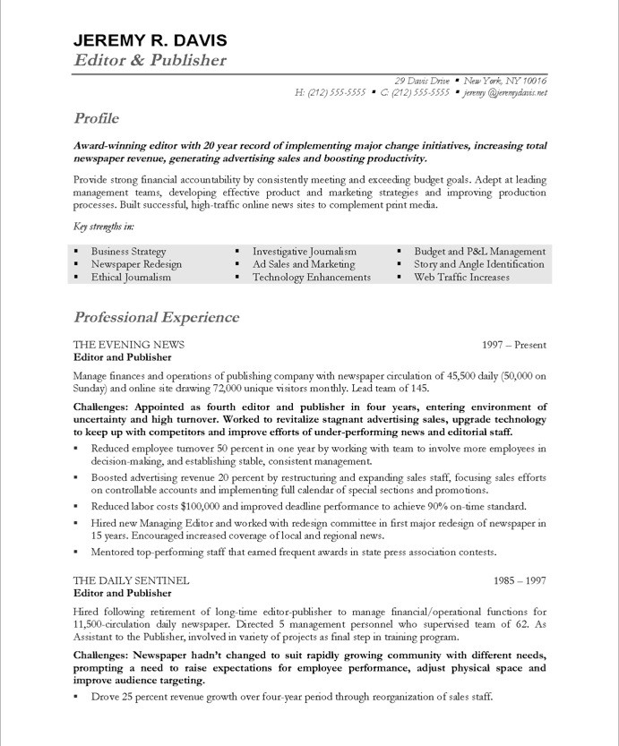 Editor Resume Sample | Resume CV Cover Letter