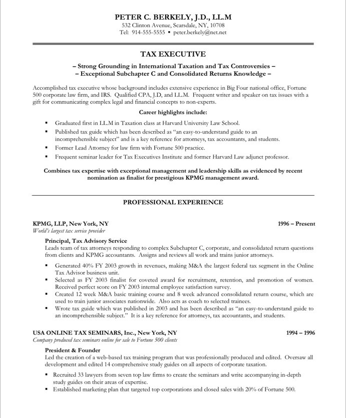 tax executive free resume sles blue sky resumes