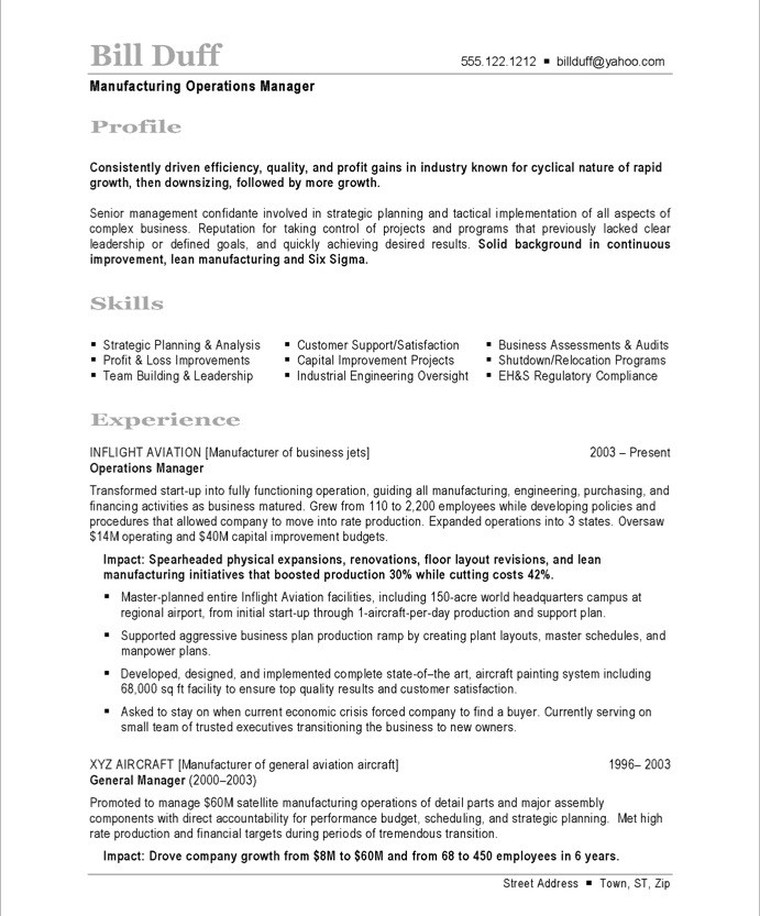 Sample Resume Manufacturing. Manufacturing Manager ...