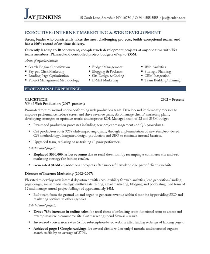 Internet Marketer Free Resume Samples Blue Sky Resumes - Free marketing resume templates