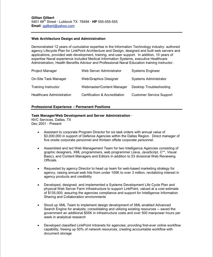 Old Version ...  Director Of Information Technology Resume
