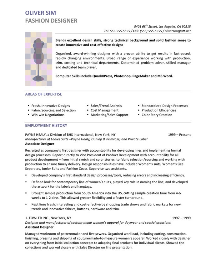 fashion designer resume summary