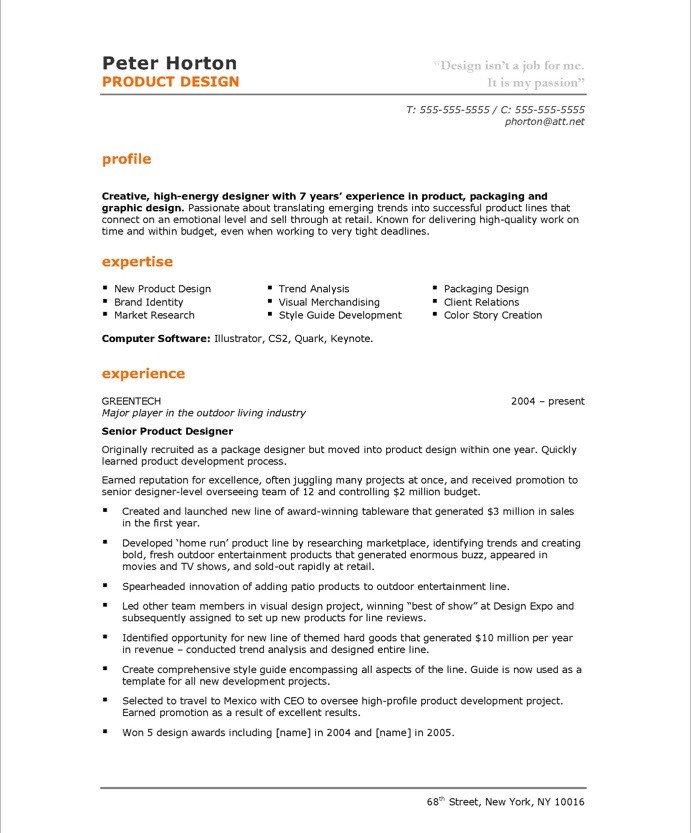 old version - Industrial Design Engineer Sample Resume