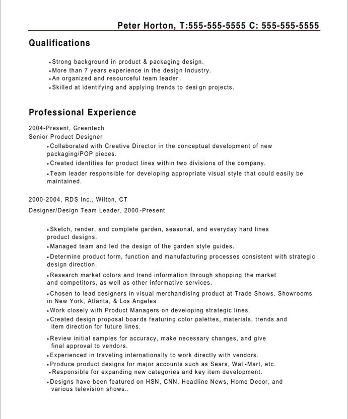 Old Version ...  Industrial Designer Resume