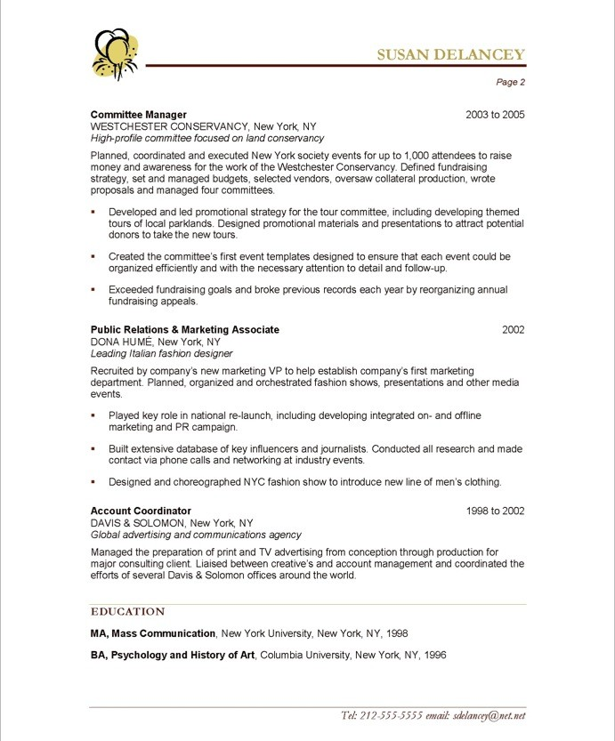 Old Version Old Version Old Version Regarding Event Planning Resume