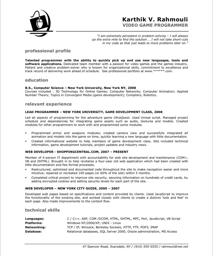 Programming Resume Examples | Game Programmer Free Resume Samples Blue Sky Resumes