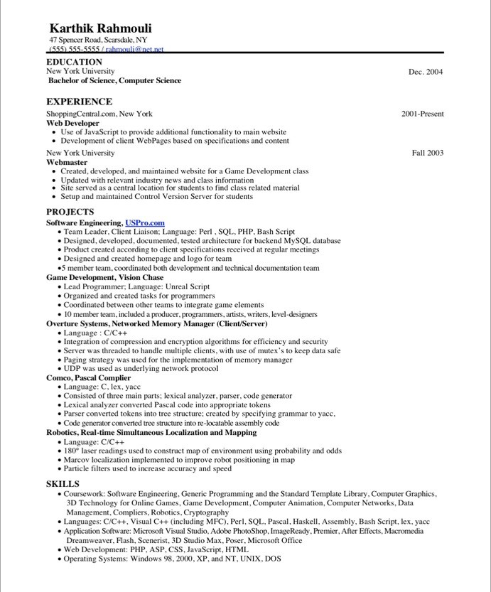 Old Version Old Version  Experience Based Resume