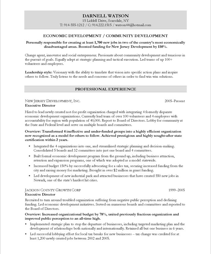 Executive resume value proposition