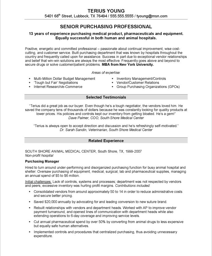 purchasing resume sample