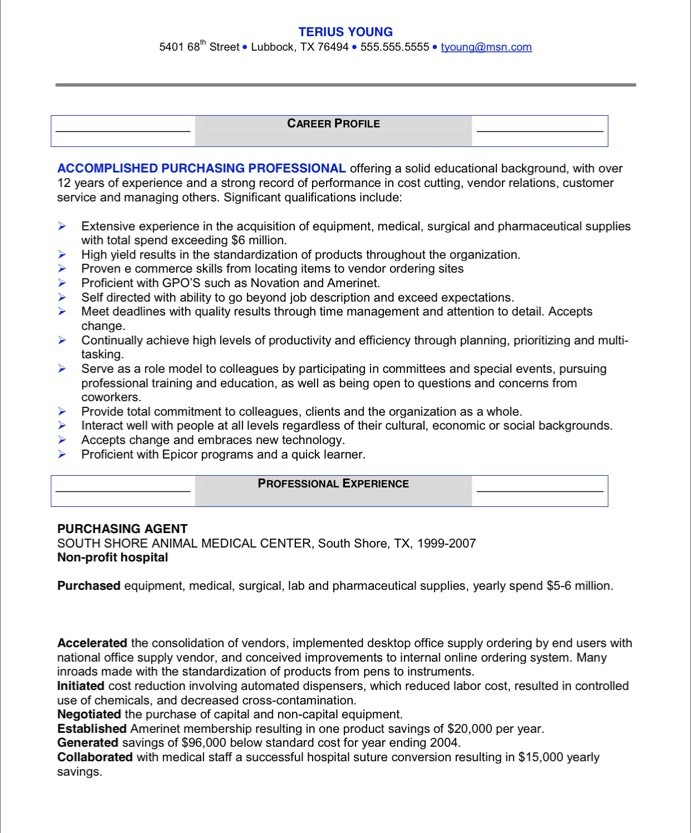 Free Sample Resume Purchasing Manager