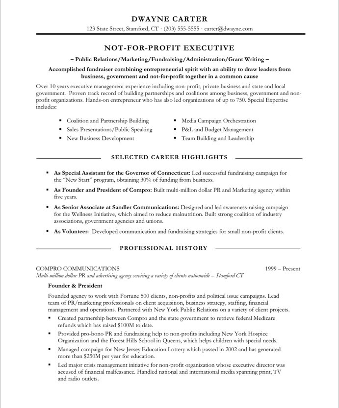 old version old version old version - Non Profit Resume Samples