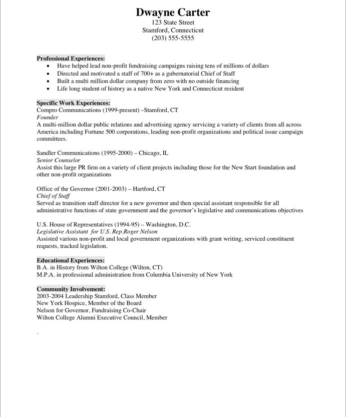 Old Version ...  Non Profit Resumes